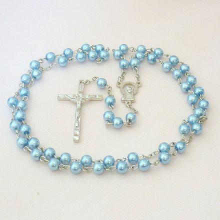 Rosary Beads for A Girl or Boy, Pale Blue Pearls